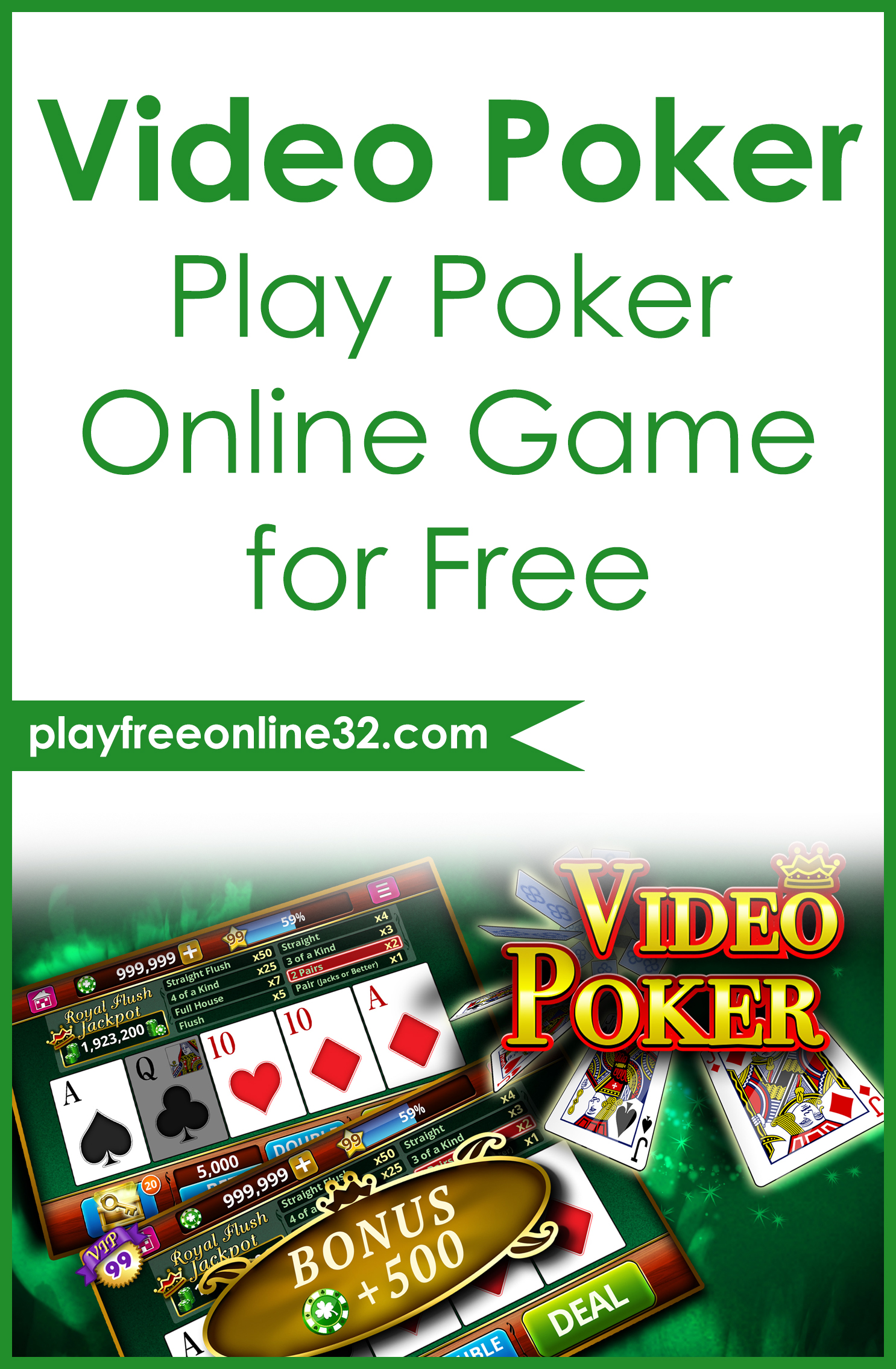 Video Poker • Play Poker Online Game for Free Pinterest